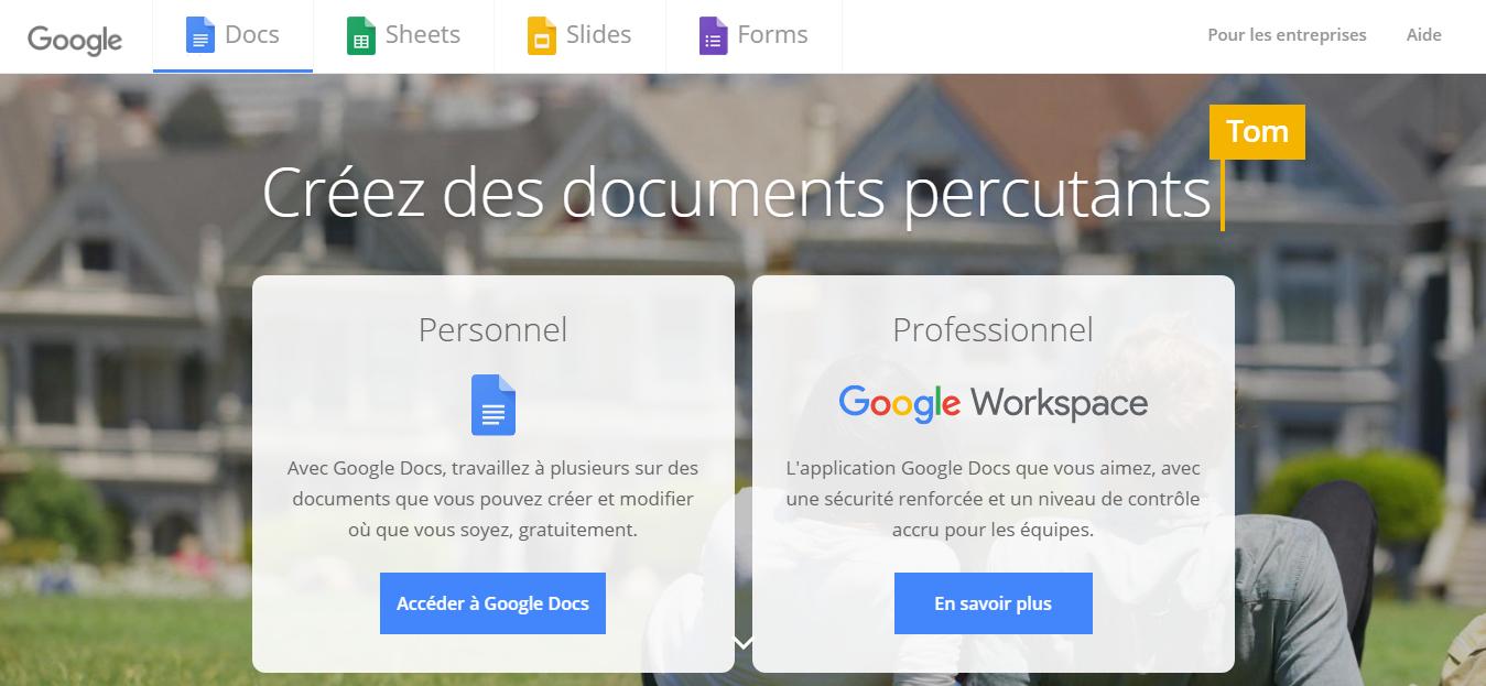 Outil n° 2 : Google Docs