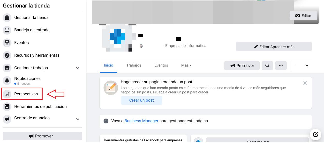 """Paso 1: Selecciona """"Insights"""" en tu página de empresa de Facebook"""