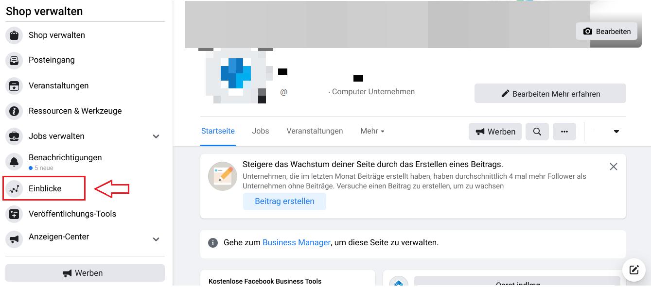 Schritt 1: Wählen Sie Insights auf Ihrer Facebook Business-Seite