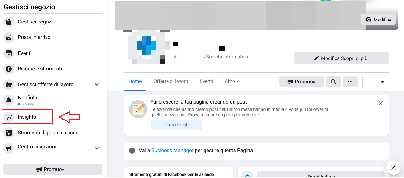 Passaggio #1: Seleziona Insights sulla tua pagina Facebook aziendale