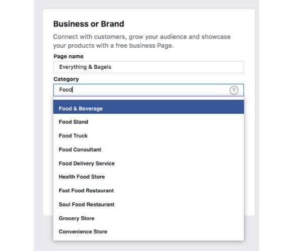 Facebook categories list