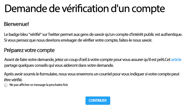 Que signifie la vérification Twitter?