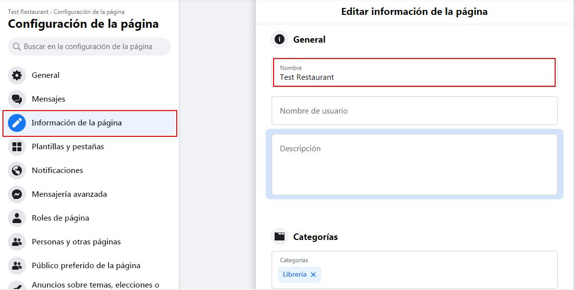 Cómo cambiar el nombre de una página de Facebook para empresas