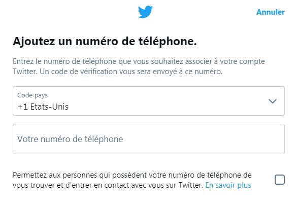 Ajouter un numéro de téléphone vérifié